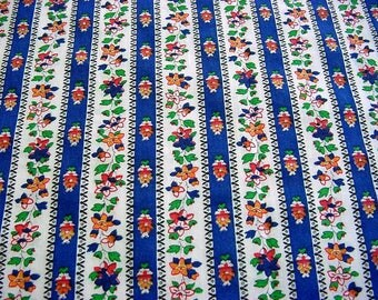 Vintage Floral Ticking Stripe Fabric - Royal Blue, Marigold, Orange, Green Daisy Flowers Cotton Quilt Material BTY