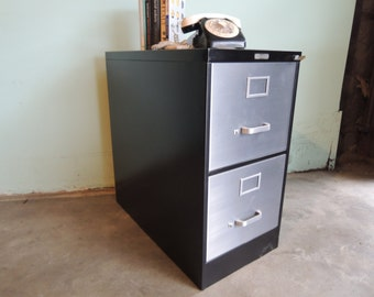 Sale-INDUSTRIAL Black and Brushed Metal Filing Cabinet (Los Angeles)