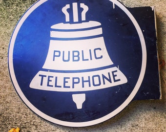 Telephone Sign / Porcelain Sign / Enamel Telephone Sign / Double Sided / Bell System / Diamond State