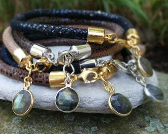 Leather Bangle Bracelet / FREE SHIPPING