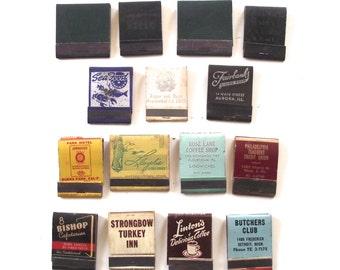 15 Vintage Matchbooks with Matches, Assorted Lot Dates from the 1950s (MB50)