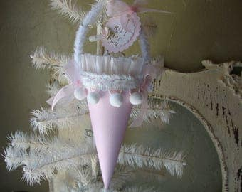 spring tussie mussie gift cone may day gift wrap party favors hostess gift paper mache cone candy containers pink and white paper ornament