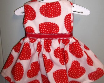 """Red and White Heart Dress / Valentines Day / 18"""" Doll Clothes / Will fit AG"""