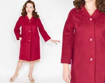 60s Red Cashmere Coat | Raspberry Red Long Winter Coat | Medium