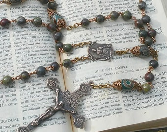 Heirloom Catholic Rosary with Bloodstone Gemstones and solid Bronze Rosary Parts