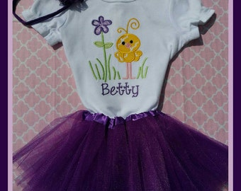Spring Onesie with Tutu and Matching Headband.