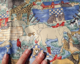 Noah's Ark Cotton Quilting Fabric Material Nursery Baby