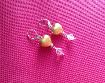 Hand Made, Sterling Silver Heart Earrings, Vermeil, Swarovski Crystal Drops