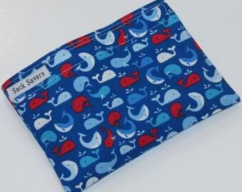 Reusable Sandwich Bag Reusable Snack Bag You Pick Size Cute Whales Eco Friendly Bag
