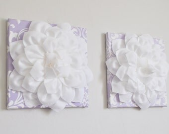 Wall Flower Set of TWO Purple Decor Lilac Lavender Flower Decor 12X12 Canvas Dahlia Flower 3D Flower Wall Art Purple Nursery - Nursery Decor