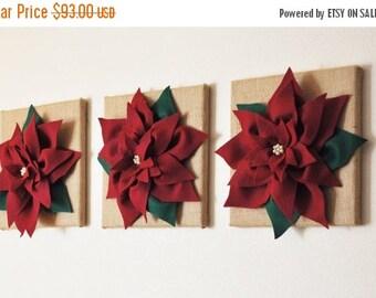 "SALE Christmas Holiday Decor  -Wall Flowers - SET OF Three Cranberry Poinsettias on 12 x12"" Burlap Canvas Wall Art- Rustic Christmas Decor-"