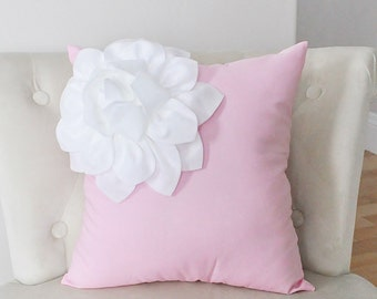 Pillows - White Corner Dahlia on Light Pink Pillow  -Baby Nursery Pillow- Light Pink Decor
