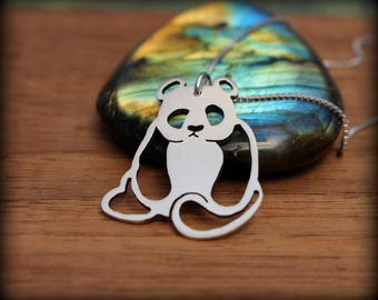 Panda bear necklace, Hand cut sterling silver panda