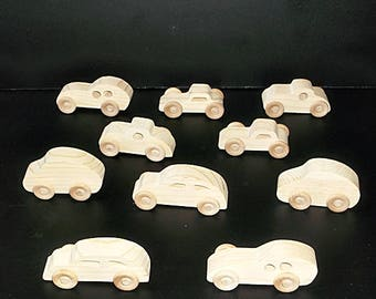 10 Handcrafted Wood Toy  Casrs  OT-10  unfinished or finished