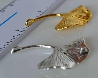 Ginkgo leaf pendants, ginkgo biloba pendants, ginkgo pendants, silver ginkgo pendant, gold ginkgo pendant, ginko pendants, silver gold ginko