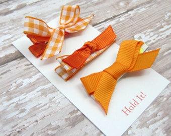 Orange Bow Hair Clip, Girl Hair Clip, Bow Hair Clip, Womens Hair Clip, Baby Bow Hair Clip, Toddler Bow Hair Clip, Hair Clip, Set of 3