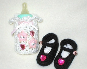 40% OFF RETIRING SALE Crochet Baby 0-3 Mts 4 Oz. Kitties By Hello Kitty Bottle Cover Rhinestone Hearts Mary Janes Gift Set