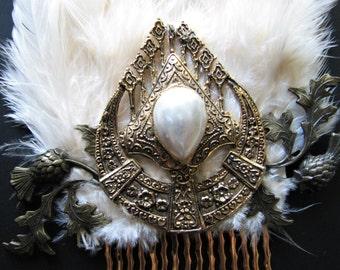 Pearl hair comb | Scottish wedding | thistle flower | vintage |  gold | fascinator | art nouveau