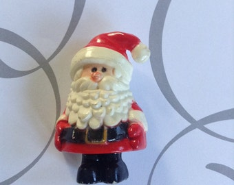 Vintage Plastic Santa Clause Pin  Christmas Pin