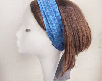 Headscarf, Beach scarf, Summer scarf, Head wrap, Drops, Polka Dots, Blue, girlfriend gift, Beach, resort, Ribbon