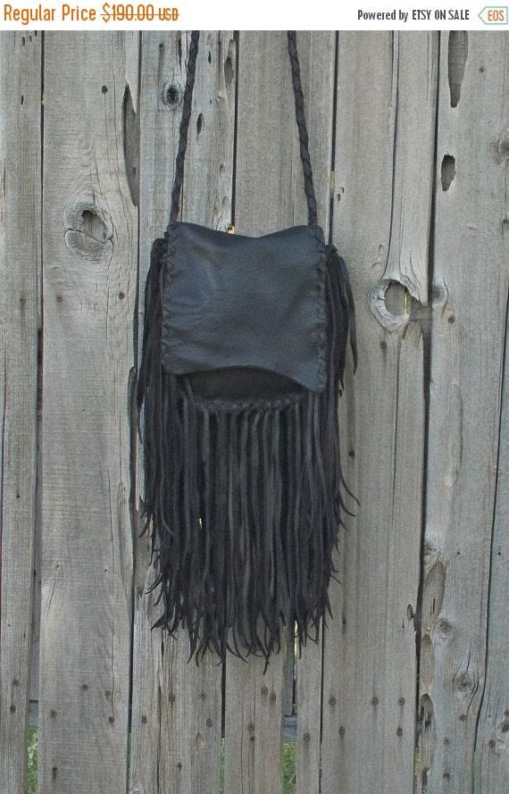 ON SALE Rustic boho handbag ,  Fringed leather purse ,  Crossbody shoulder bag