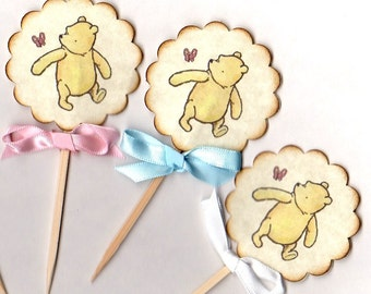 Winnie The Pooh Cupcake Topper Picks, Cake Slice Toppers, Baby Shower Birthday Cupcake Picks, Gender - Vintage Style  Set of 10