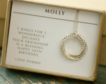 50th birthday gift for her, 5 sisters necklace, 5 best friend gift for wife 5 year anniversary gift - Lilia