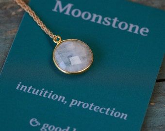 Christmas gift for girlfriend, moonstone necklace, meaningful jewelry, gemstone necklace, gift for sister - Amy