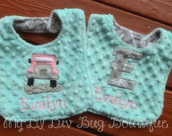 personalized minky bib set- baby girl jeep with arrows- saltwater blue and paris pink- baby gift set