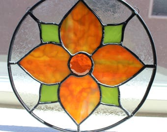 STAINED GLASS SUNCATCHER Orange Flower Round Window Decoration, Under 40, Mother Grandmother Godmother Gift, Gift for Her, Glass Flower Gift