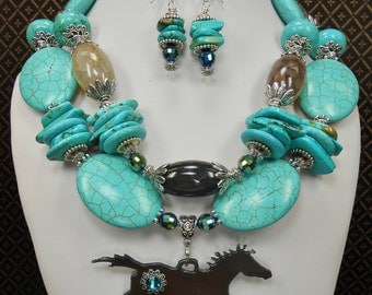 Cowgirl Western Horse Pendant Necklace Set / Cowgirl Statement Jewelry / Chunky Western Necklace / Horse Jewelry / Gemstones - PONY PRIDE