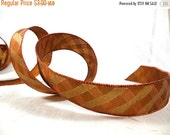 Holiday SALE Wired Ribbon for Fall, Thanksgiving, Christmas Decor Copper and Gold Plaid