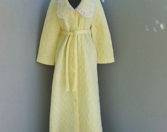Vintage Quilted Robe, Yellow Quilted Robe, Floor Length Robe, Yellow and White Robe, Large