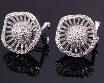Bridal Earrings flower Posts diamond studs prom tops bridal accessories wedding jewelry by Taneesi