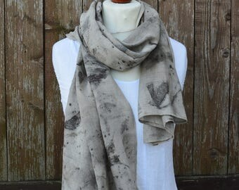 Linen scarf - plant dyed linen cotton scarf - summer scarf - hand dyed scarf - women scarf - cotton scarves - OOAK Linen Scarf