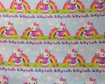 Hello Kitty Novelty Fabric -Hello Kitty Rainbow Fabric -  one yard