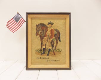 Vintage Framed Portrait of Horse and Soldier--- American Revolutionary War Embroidery--- Military Memorabilia