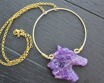 Amethyst Necklace Amethyst Jewelry Horse Necklace Horse Jewelry Ancient Necklace Ancient Jewelry Boho Necklace Statement Necklace Gold