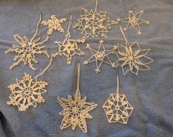 Ten Vintage Crocheted Snowflakes for tree in one lot