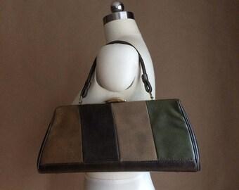 WEEKEND SALE! vintage 1960's 60's mod handbag / color block purse / top handle / retro vinyl