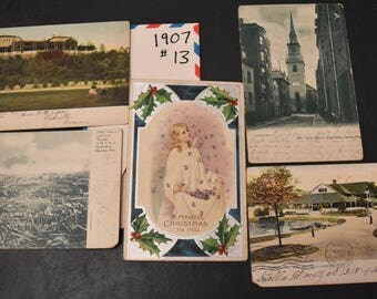 Vintage postcards, FREE SHIPPING 13 cards, 1907, photo cards, colored photos,  card-making, scrap-booking, paper crafts 005