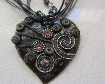 Beaded Enamel Heart Vintage Necklace in Black Gift for Her