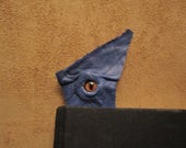 Grichels leather bookmark - blue with rusty brown slit pupil fox eye