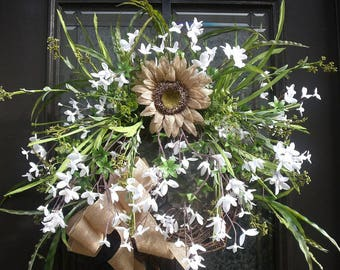 Wild Spring Wreaths, Spring Wreath For Front Door, Spring Door Wreath, Burlap Sunflower Wreath, White Wreaths,