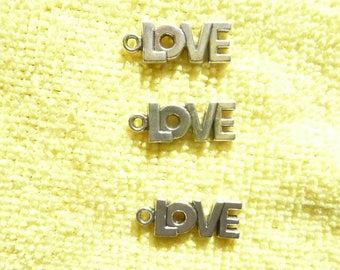 SALE!! Drop, Charm, antique silver-plated pewter zinc-based alloy, 17x8mm single-sided LOVE,  Pkg Of 8  SALE!!
