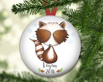 baby's first Christmas ornament - personalized Christmas ornaments for kids - baby animal keepsake ornament - ORN-PERS-7