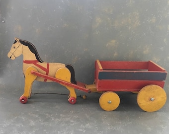 Vintage Large Wood Pull Toy, Horse Cart, Handmade, Primitive , farm toy, 30s 40s