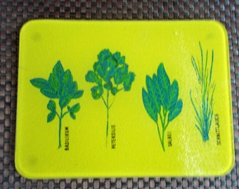 Vintage Yellow Glass German Herbs Cutting Board