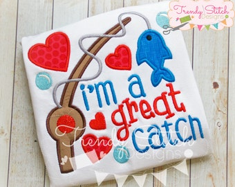 Great Catch Applique Machine Embroidery Design INSTANT DOWNLOAD