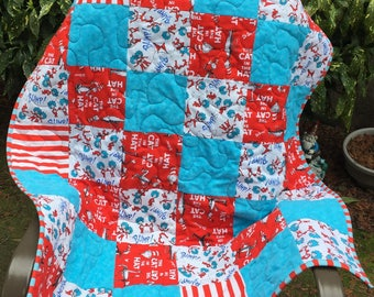 "Dr. Seuss Thing 1, Thing 2 Quilt - Bright Red Dimple Minky Back, 40"" x 34"""